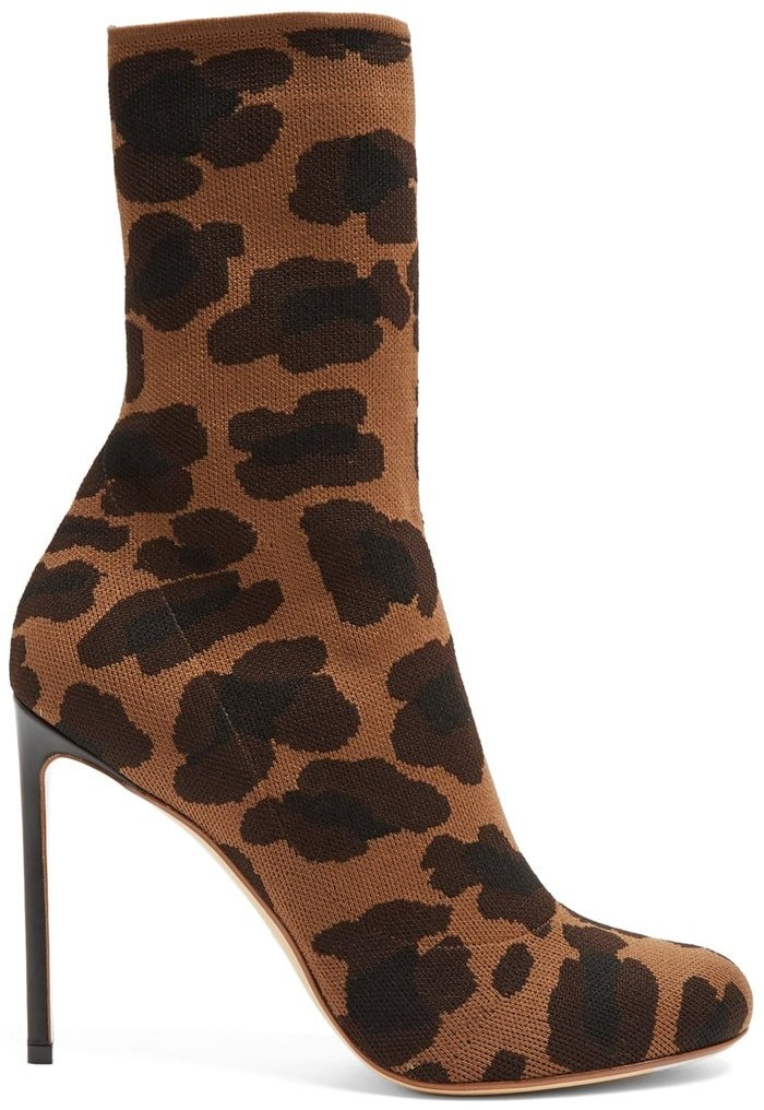 Francesco Russo Leopard-Jacquard Stretch-Knit Sock Boots