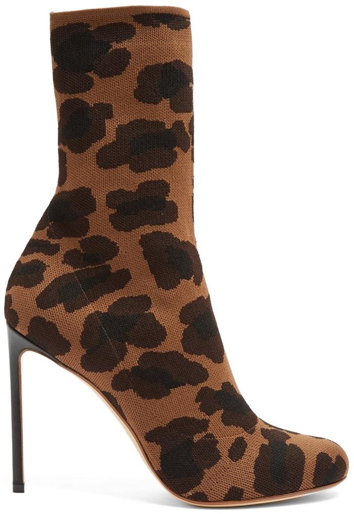 Francesco RussoLeopard-Jacquard Stretch-Knit Sock Boots