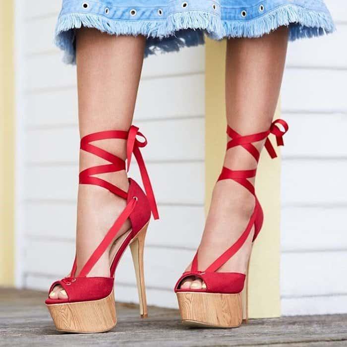 Towering 'Fostina' Wood-Effect Platform Heels