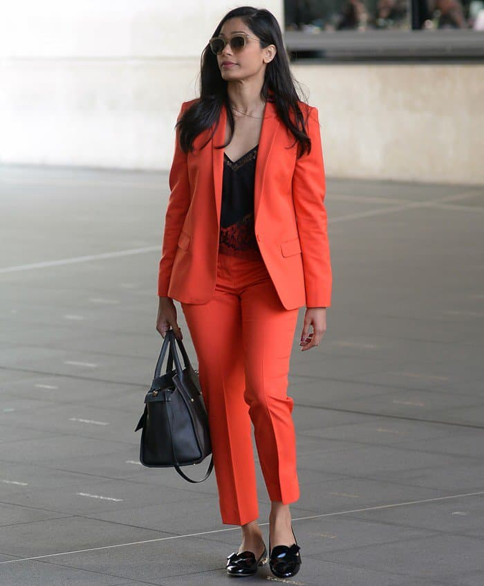Freida stepped out in a bright and chic look from Topshop for an interview at the BBC 1xtra studios in London on April 7, 2017