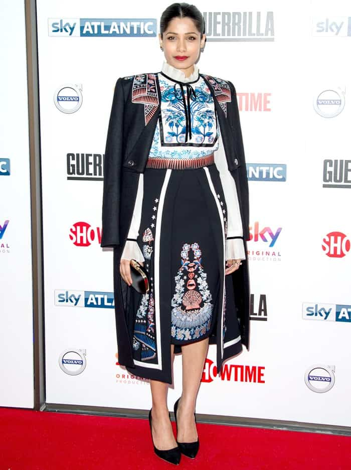 Freida Pinto wearing a look from Temperley London's Fall 2017 collection at the premiere of 'Guerrilla' in London, England, on April 6, 2017