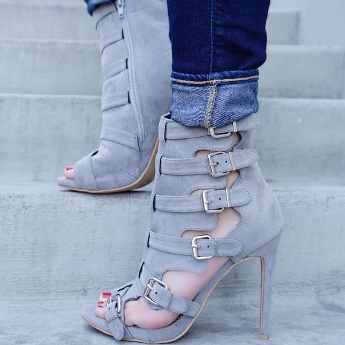 Grey Strappy Buckle Accent Open Toe High Heel Booties