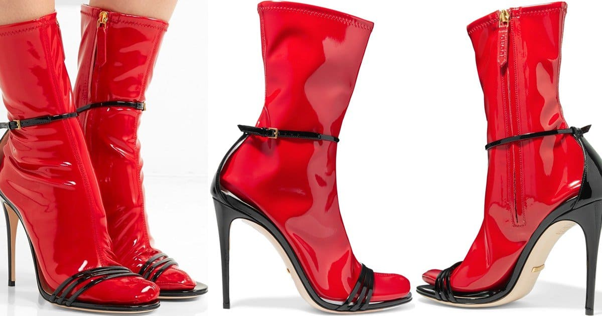 Gucci Ilse Patent Leather Sandals With Removable Latex Socks