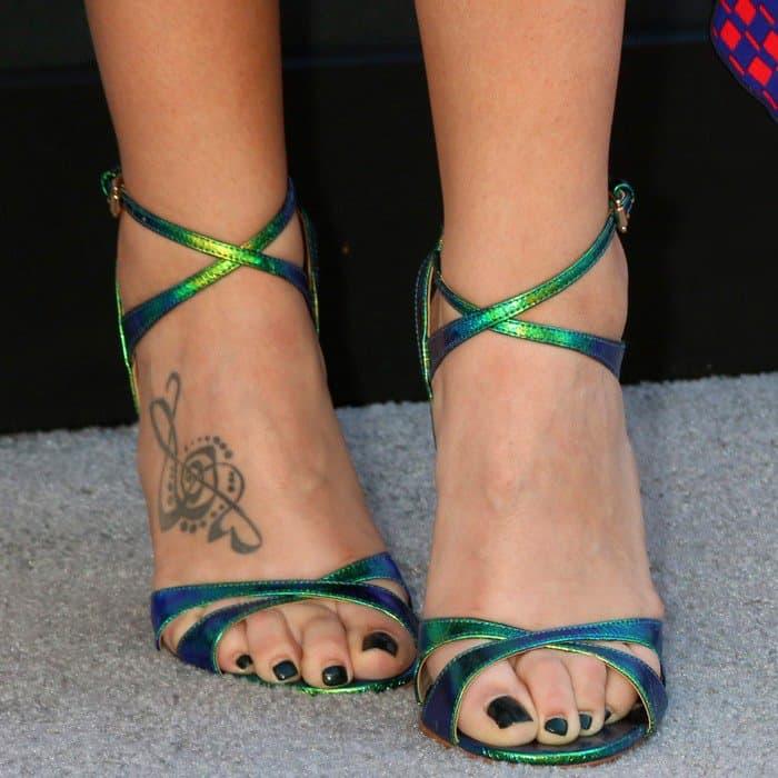 Hillary wearing Kurt Geiger 'Jina' sandals