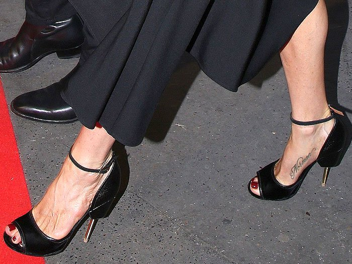 "Jennifer Aniston's feet in Givenchy ""Matilda"" screw-heel sandals"