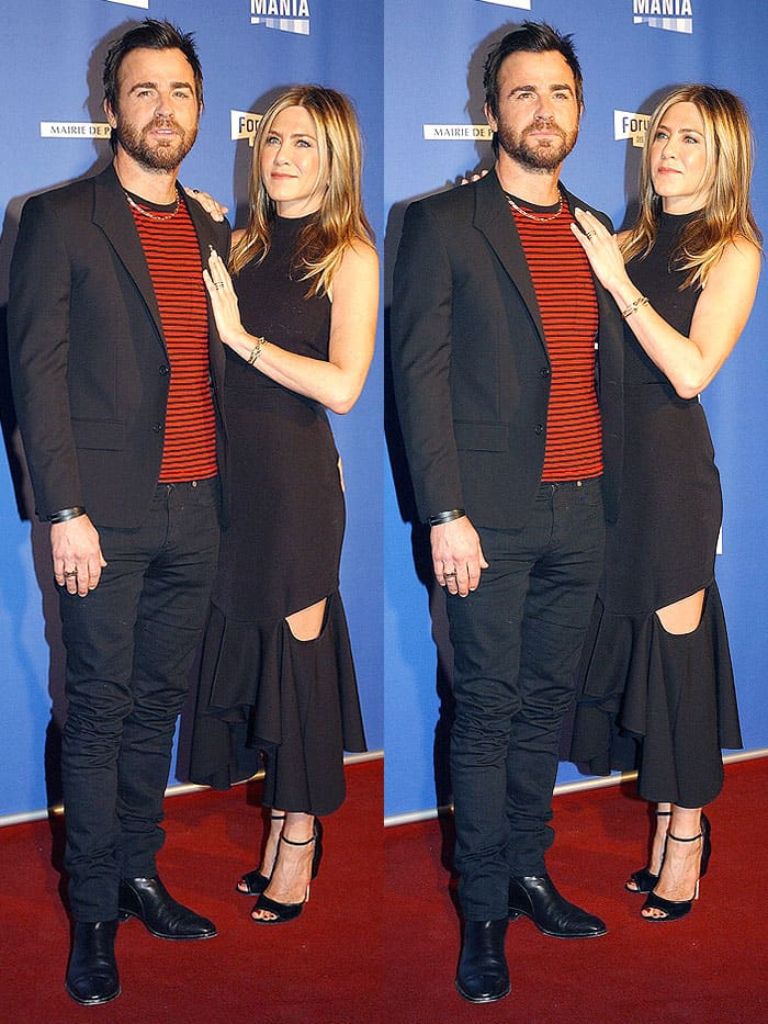 Jennifer Aniston's ruffled midi skirt that looked like it was slashed at the thighs