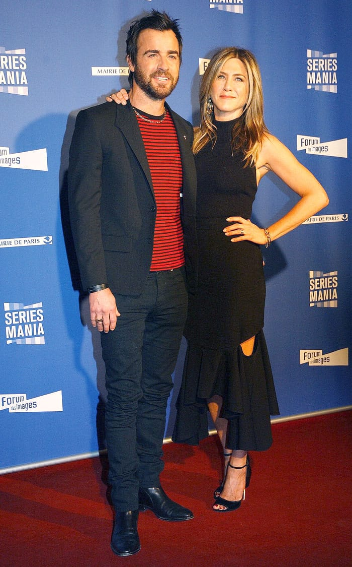 Jennifer Aniston and Justin Theroux at the opening night of the Series Mania Festival at Le Grand Rex in Paris, France, on April 13, 2017.