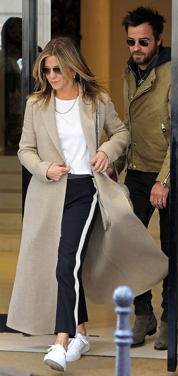Jennifer Aniston and Justin Theroux leaving a Chanel store in Paris