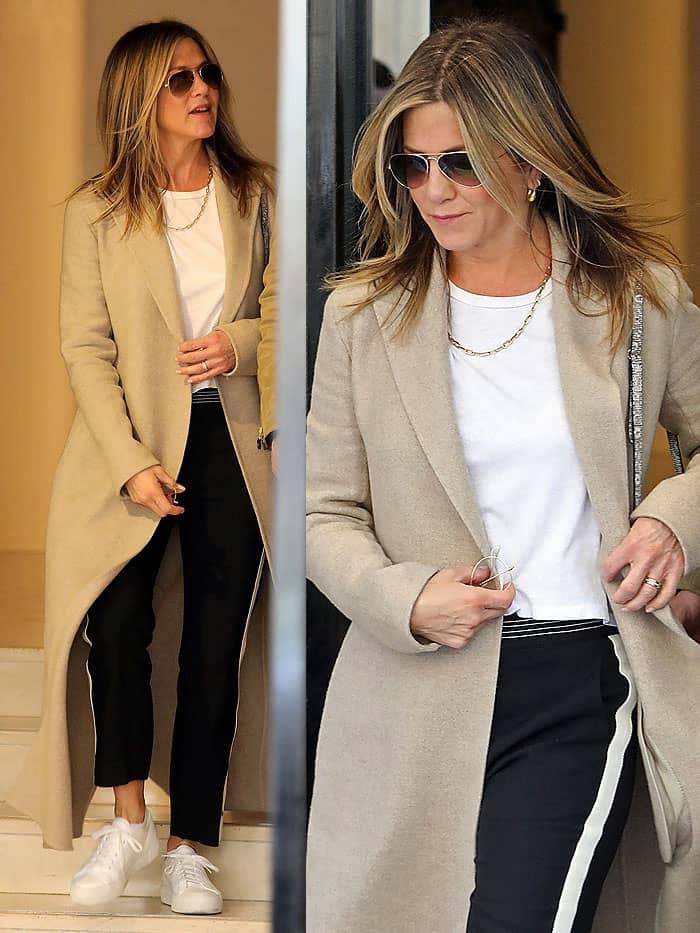 Jennifer Aniston's tailored Chloé side-striped crepe pants