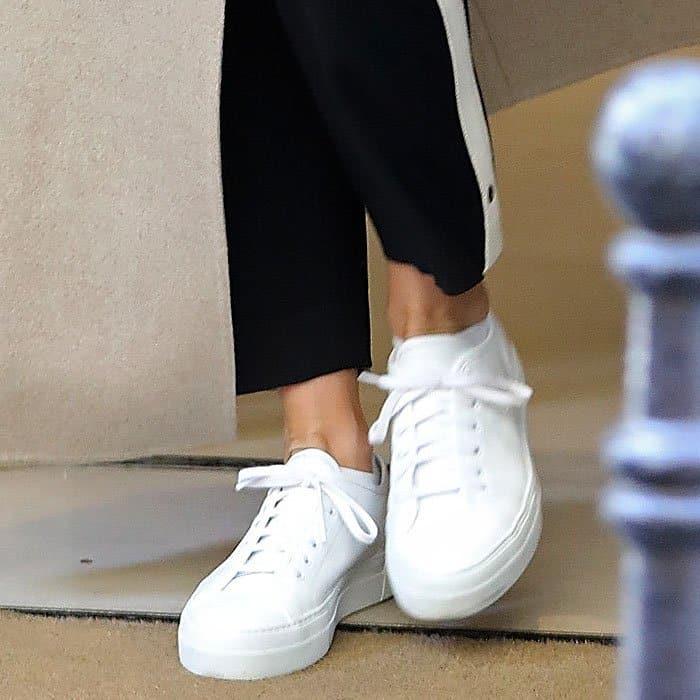 "Jennifer Aniston's optic-white Common Projects ""Tournament"" platform sneakers"