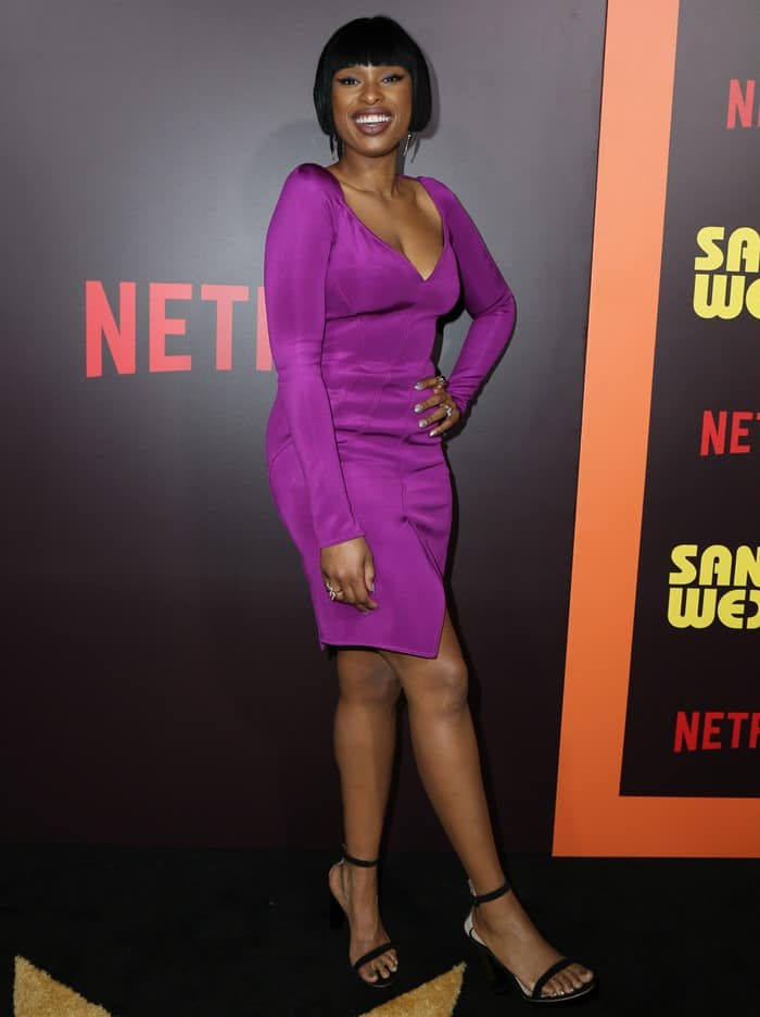 Jennifer Hudson wearing a magenta Givenchy dress at the premiere of 'Sandy Wexler' held at ArcLight Cinemas Cinerama Dome in Hollywood on April 6, 2017