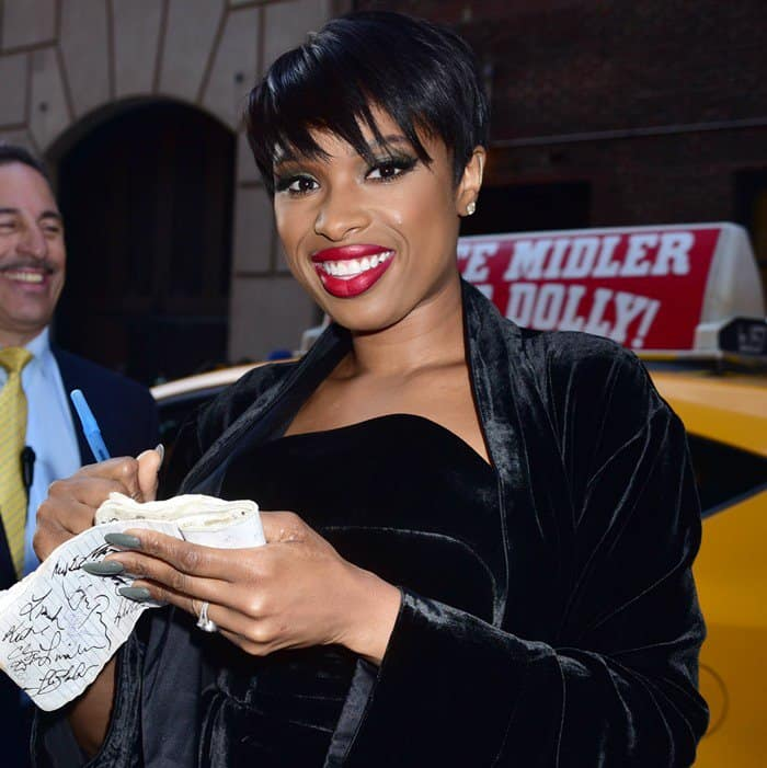 Jennifer Hudson wearing a black velvet dress outside the Ed Sullivan Theater for her guest appearance on 'The Late Show With Stephen Colbert' in New York City on April 17, 2017