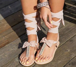 Rhinestone-Adorned T-Strap Sandals