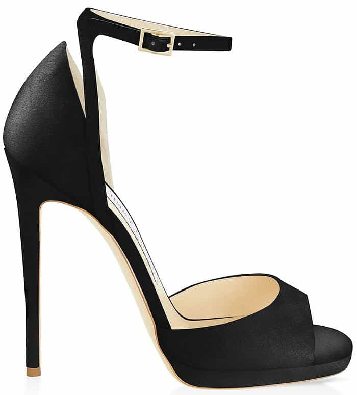 Jimmy Choo Pearl 120 black satin ankle-strap sandals