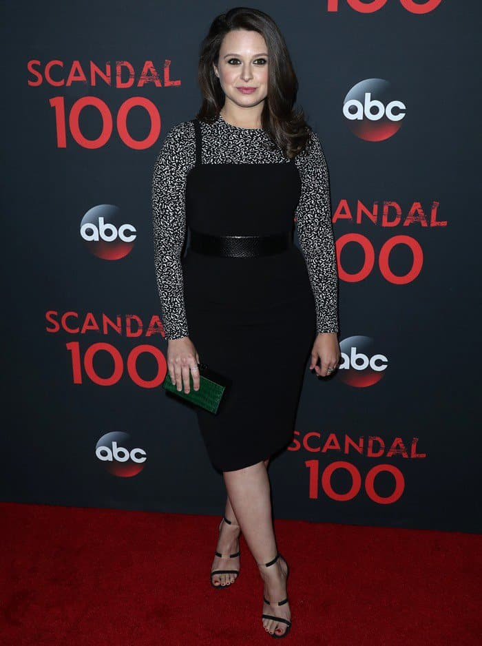 Katie Lowes attending ABC's 'Scandal' 100th episode celebration, at Fig & Olive in West Hollywood on April 8, 2017