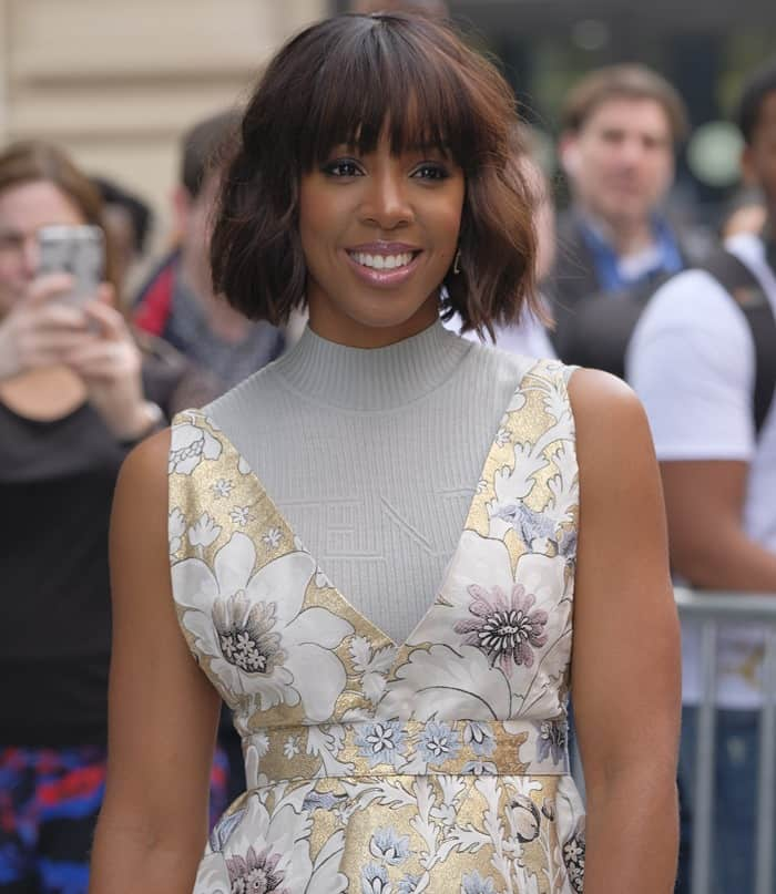 Kelly Rowland in a floral mini dress from Fendi's Spring 2017 collection