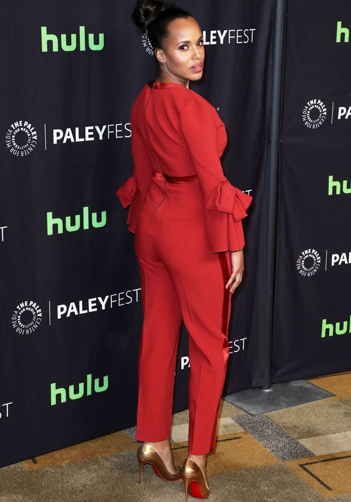 The actress shows off the back of her Roksanda Ilincic jumpsuit