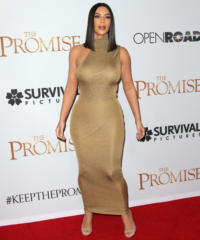 Kim Kardashian wearing a vintage dress designed by the late Gianni Versace at the premiere of 'The Promise' at the TCL Chinese Theatre in Los Angeles on April 12, 2017