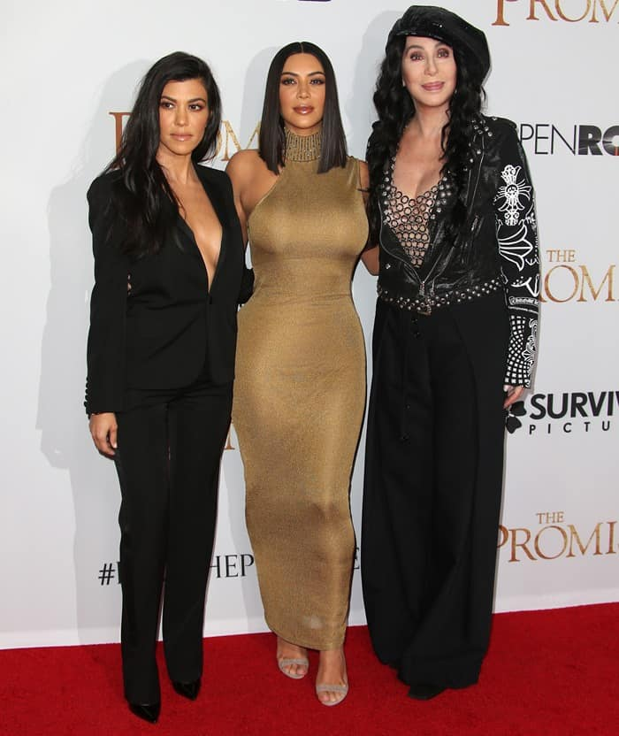 Kim Kardashian was joined by older sister Kourtney and megastar Cher at the premiere