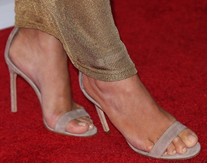 The reality star wearing Manolo Blahnik's 'Chaos' sandals in beige suede