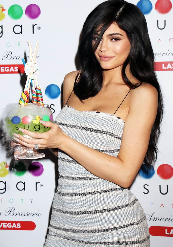 Kylie promotes the Sugar Factory Brasserie opening in Las Vegas