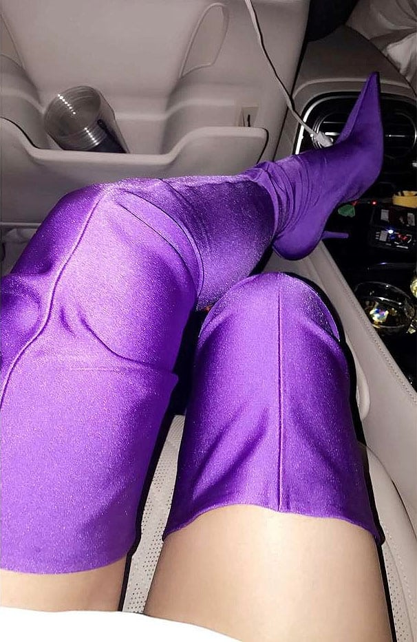 Kylie Jenner's Snapchat of her purple Balenciaga stretch boots.