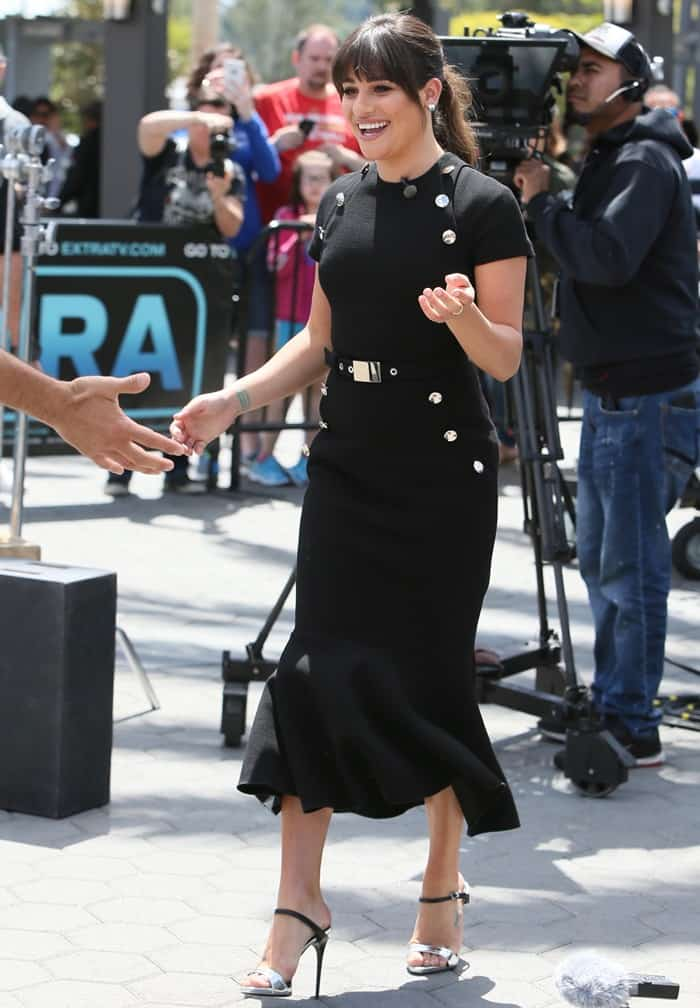 Lea Michele seen at Universal Studios where she was interviewed by Mario Lopez for television show 'Extra' in Universal City on April 15, 2017