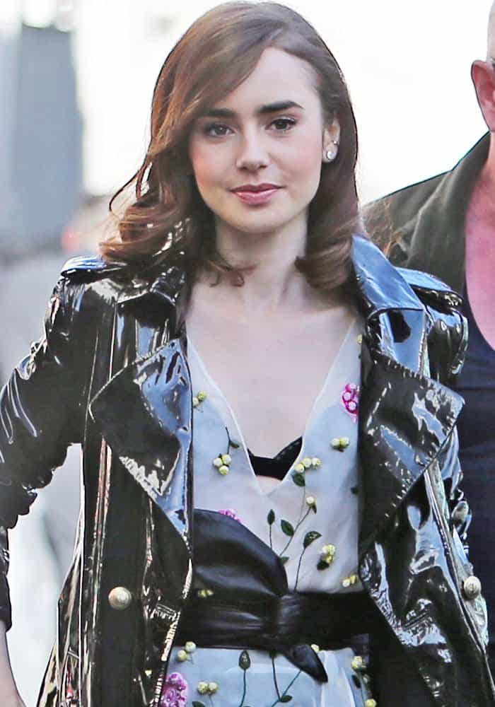 Lily Collins outside ITV Studios in London on April 18, 2017