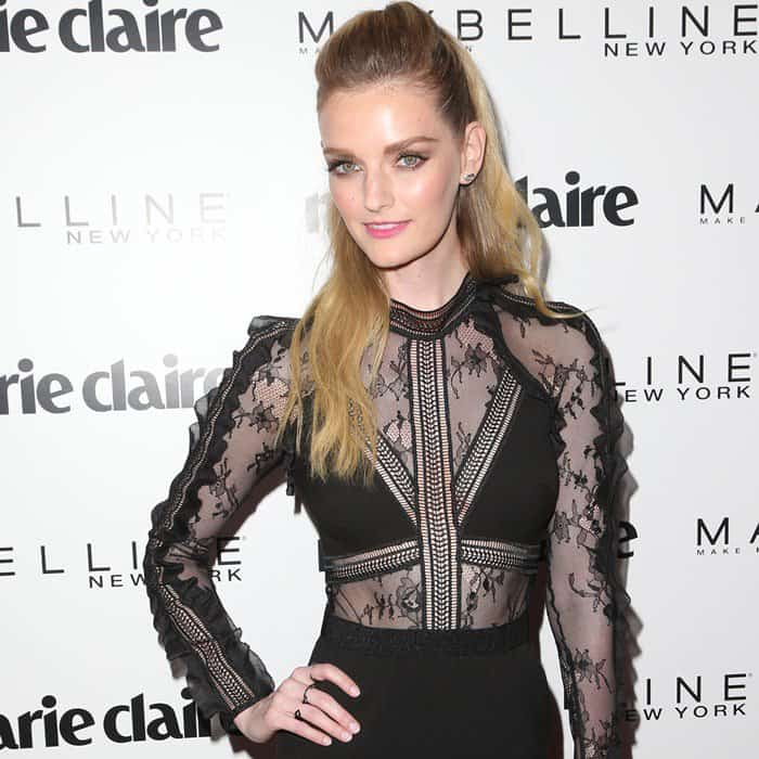 Lydia Hearst turned heads in her 'Hall' lace-panel slim-leg jumpsuit from Self Portrait