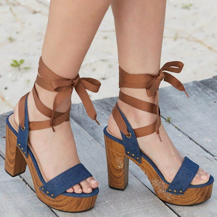 'Mallory' Sandals With Wraparound Ribbon Closure