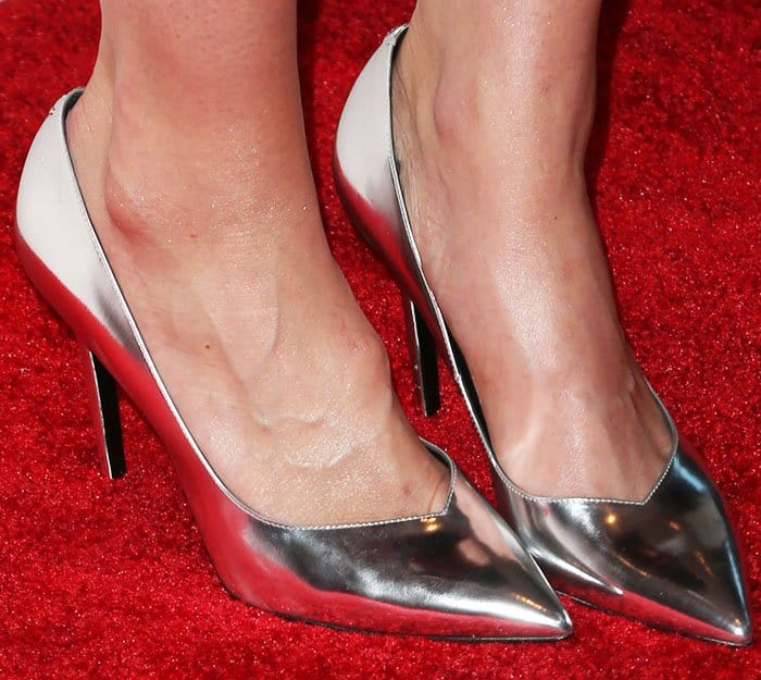 """Mandy adds to the shine with a pair of Saint Laurent """"Paris"""" pumps in silver metallic leather"""