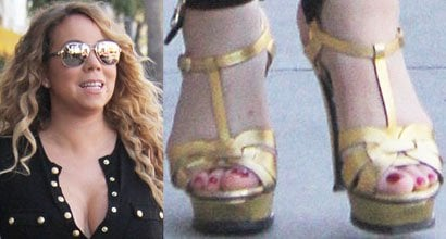 d5824e5c0ef Mariah Carey Takes Kids Shopping at Tom s Toys in Saint Laurent  Tribute   Sandals