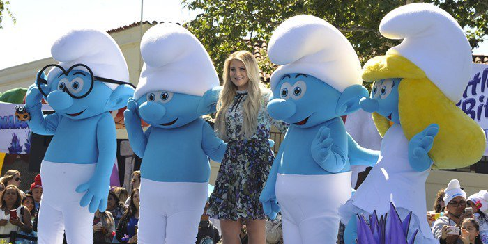 Meghan Trainor attends the Smurfs: The Lost Village premiere held at Arclight Culver City in Los Angeles on April 1, 2017