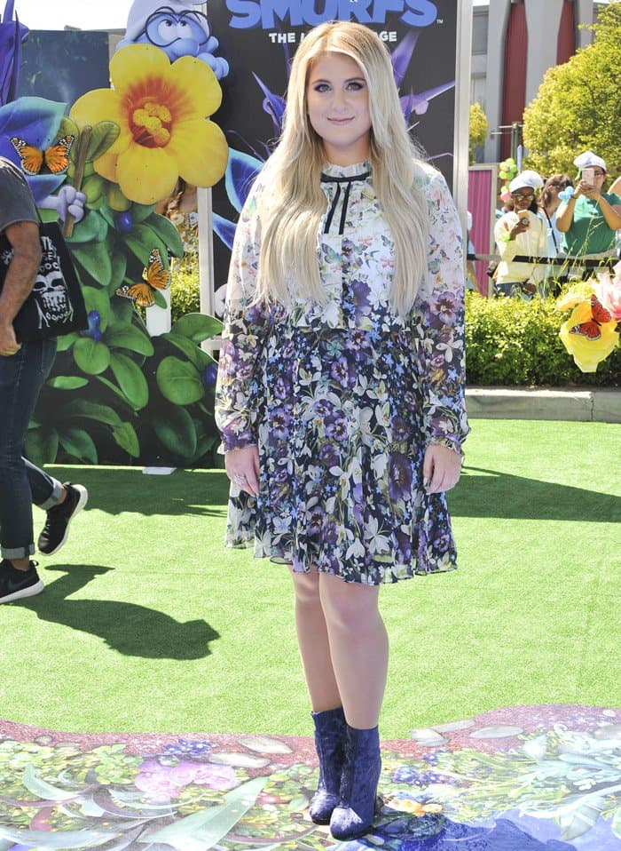 """Meghan Trainor attends the """"Smurfs: The Lost Village"""" premiere held at Arclight Culver City in Los Angeles on April 1, 2017"""