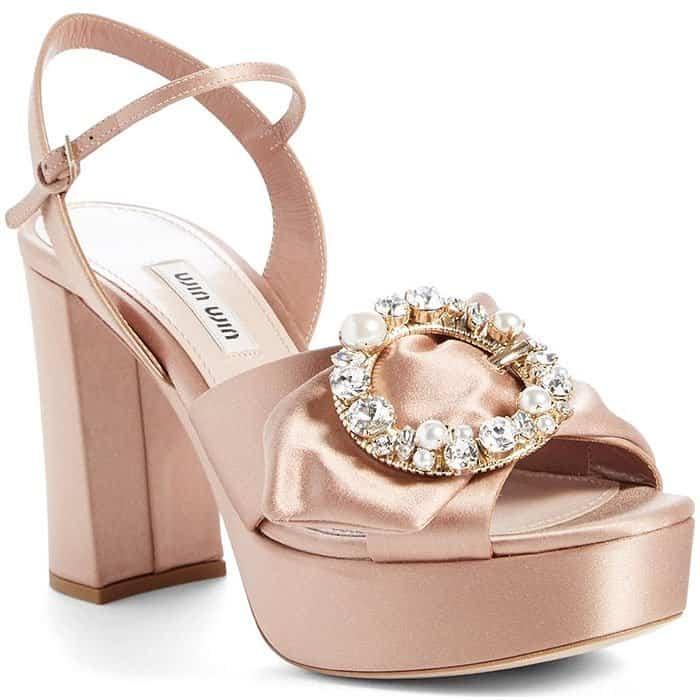 Miu Miu embellished platform sandals in beige satin