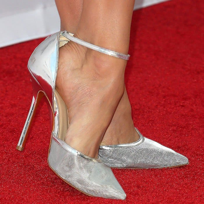 "Closeup of Nina Dobrev's Soebedar ""Dona"" patent-leather-and-mesh ankle-strap pumps."