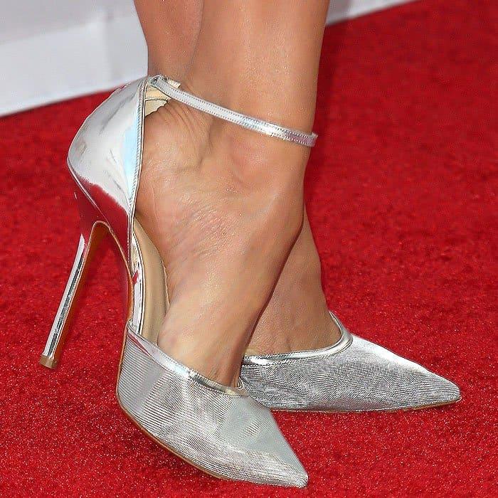 "Closeup of Nina Dobrev's Soebedar ""Dona"" patent-leather-and-mesh ankle-strap pumps."