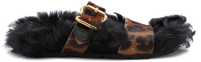 PRADA Shearling-lined calf-hair slide