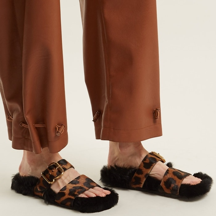 Prada offers a lesson in off-kilter style with these soft brown leopard-print calf-hair slides