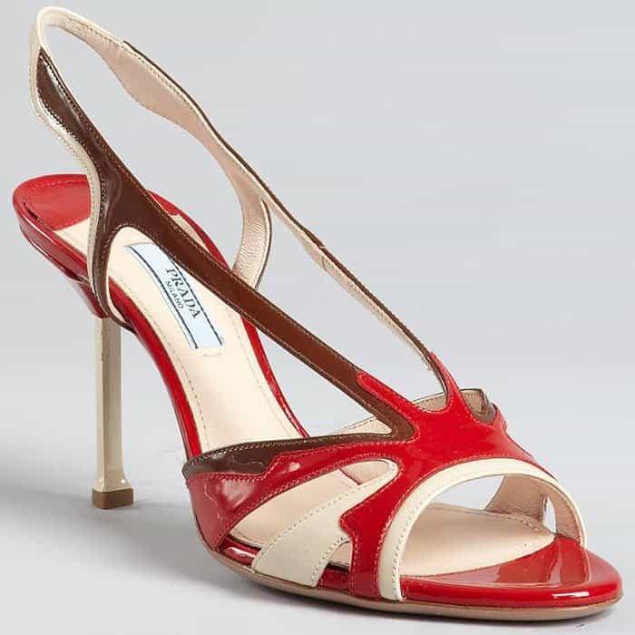 Prada Spring 2012 Patent Colorblock Slingback Sandals