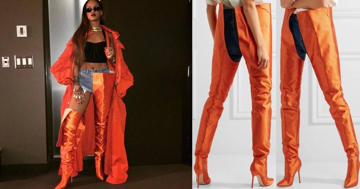 50b3aa7da08 Rihanna and Kim Kardashian Rock Vetements x Manolo Blahnik Waist-High Satin  Boots