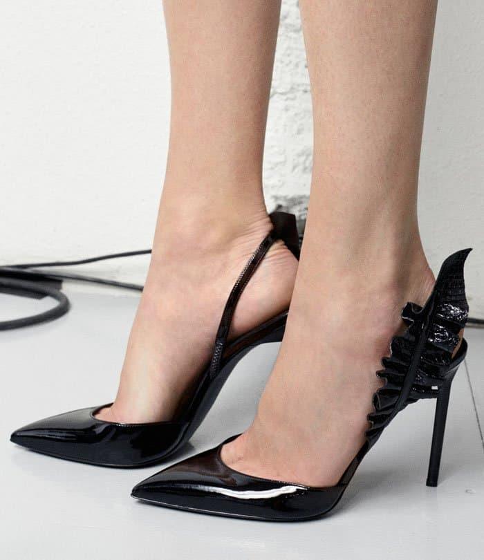 Saint Laurent 'Edie' Metallic Snake Effect-Trimmed Patent-Leather Pumps