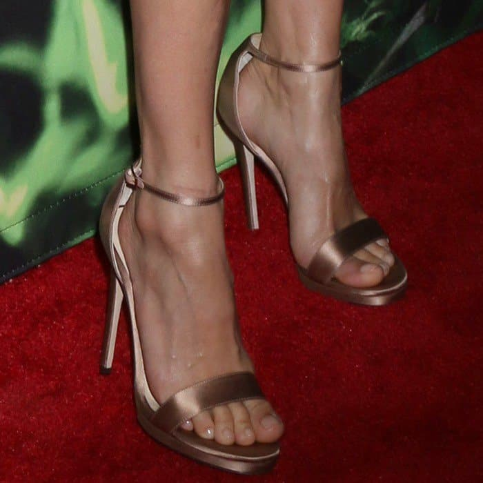 The British-American actress, model, and fashion designer wearing Gianvito Rossi heels