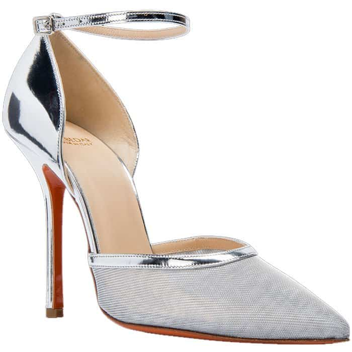 Soebedar Dona silver patent leather and silver mesh ankle-strap pumps