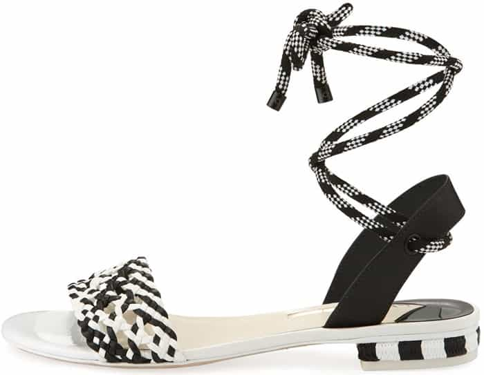 Sophia Webster 'Nia' Woven Ankle-Wrap Sandals