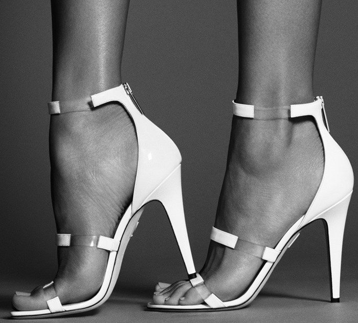 Tamara Mellon 'Frontline' leather and PVC Sandals