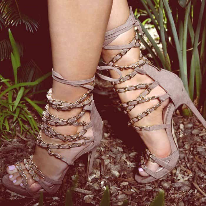 Taupe Strappy Chained Open Toe Single Sole High Heels