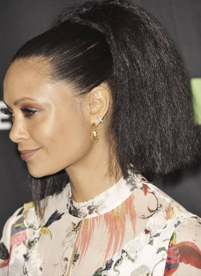 The actress slicked her hair back to show off her Alex Monroe jewelry