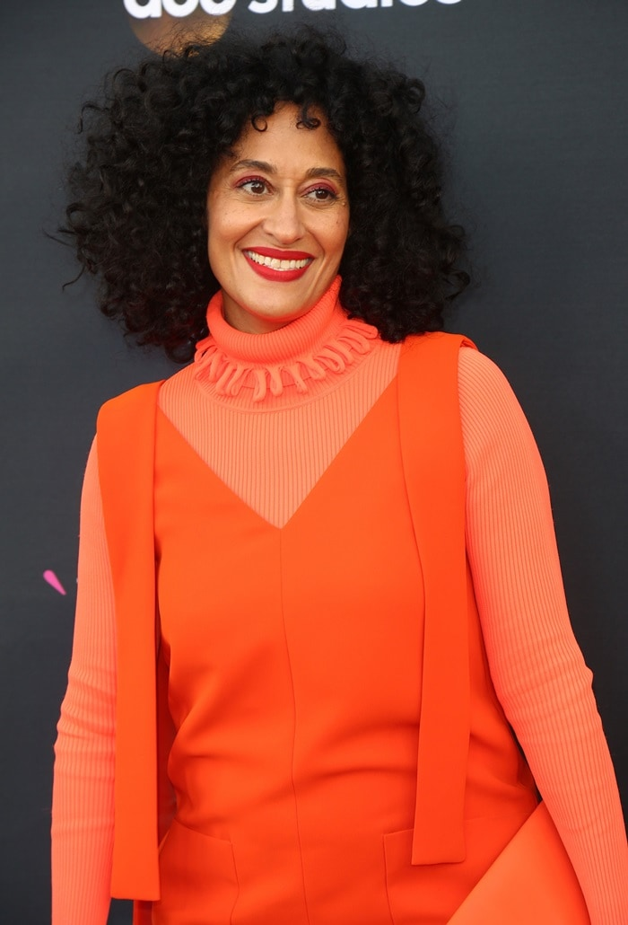 It looked like Tracee Ellis Ross wore a long-sleeved t-shirt under a sleeveless mini dress