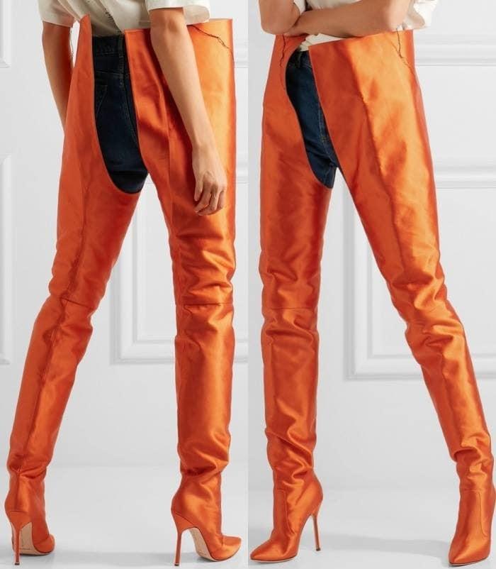 Vetements x Manolo Blahnik waist-high boots in bright orange satin